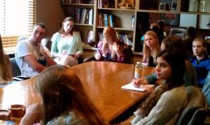 Students listen to Kurt Rheinheimer talk about his success in the magazine business