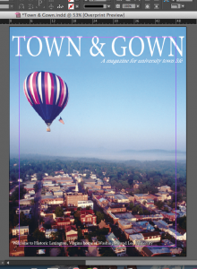 Prototype of Town & Gown magazine cover